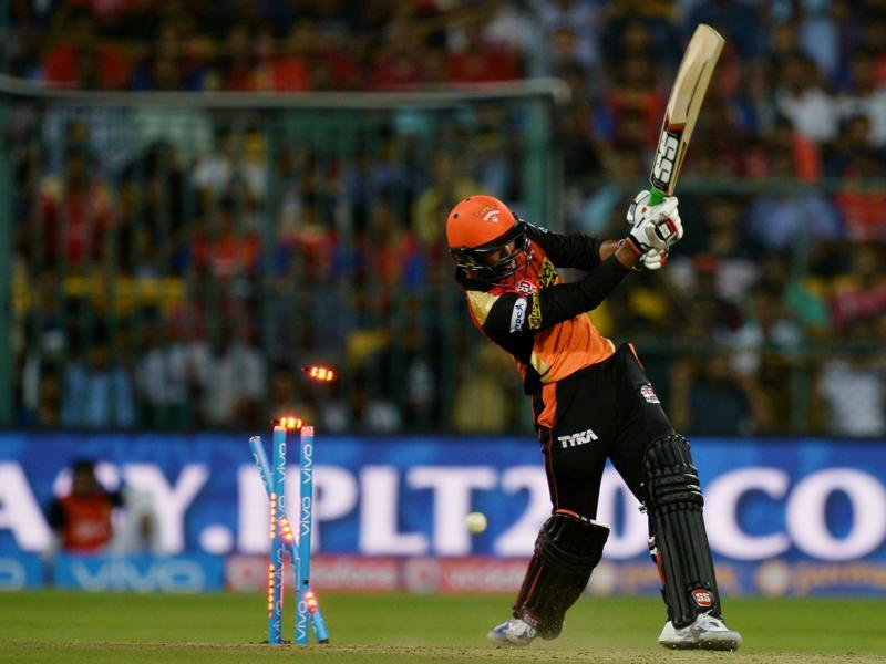 Sunrisers Hyderabad Ashish Reddy is bowled out for 32 by Shane Watson. (AFP)