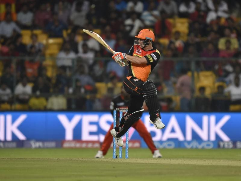 Bengaluru, India - April 12, 2016: David Warner in a action against Royal Challengers Bangalore during the iplt20 match at M. Chinnaswamy Stadium, in Bengaluru, India, on Tuesday, April 12, 2016. (Photo by Ravi Choudhary/ Hindustan Times) (Hindustan Times)