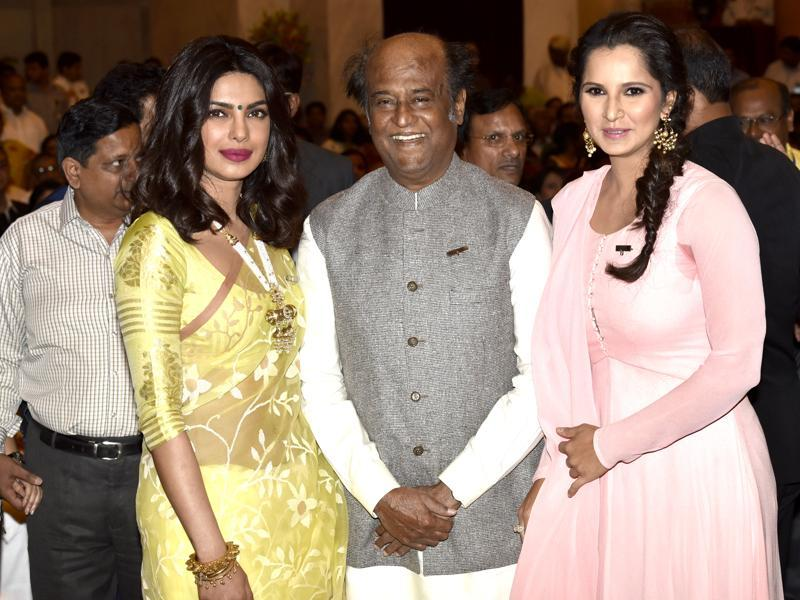 Rajinikanth, Priyanka and Sania pose for the camera before receiving their awards on Tuesday.  (Arvind Yadav/ HT Photo)