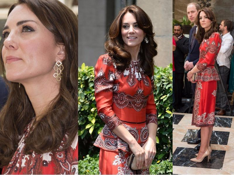 Outfit 1: Kate stuck to a tried and trusted designer for her first outfit of this tour in Mumbai, with the top and skirt from the Alexander McQueen 2016 pre-Fall collection. (Instagram and Twitter)
