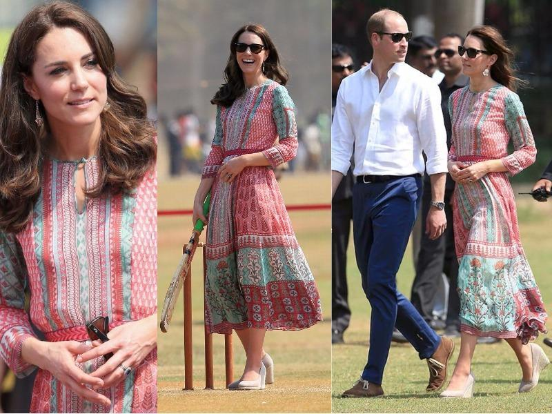 Outfit 2: Kate is no stranger to getting stuck into sport while somewhat impractically dressed - and a maxi dress by Anita Dongre and heels did not stop her from showing off her cricketing skills in Mumbai. (Instagram and Twitter)