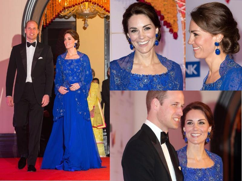 Outfit 3: The final engagement on day one brought the first red carpet event of the tour - and Kate did not disappoint. She wore a deep cobalt blue Jenny Packham gown with removable sheer beaded cape. (Instagram and Twitter)