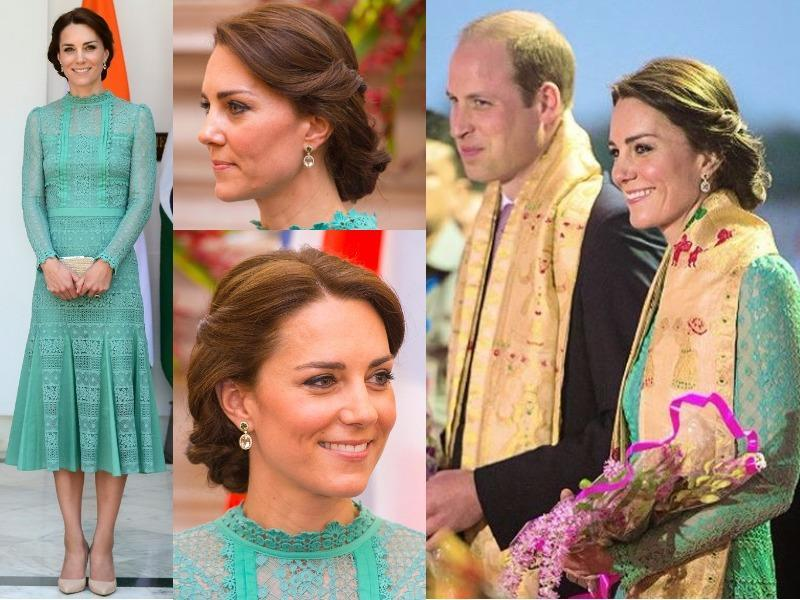 Outfit  7: The Duchess of Cambridge changed into more formal wear for lunch with Prime Minister Narendra Modi. She wore a jade-green dress designed by Alice Temperley. (Instagram and Twitter)