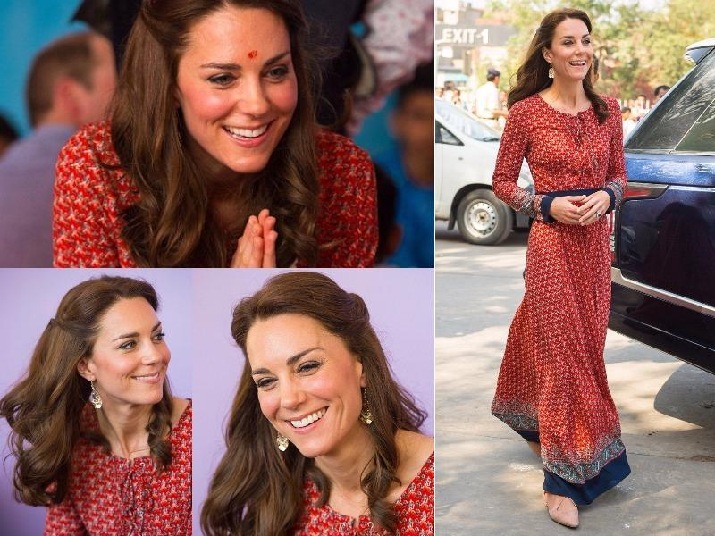Outfit 6: Patterned maxi dresses almost become a theme of this tour, and the Duchess added a new brand to her tour wardrobe in the form of British company Glamorous. She wore this on a charity visit to Delhi street children on April 12. (Instagram and Twitter)