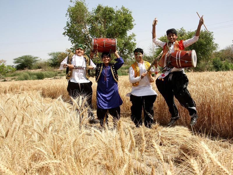 Students dancing and playing instruments in the fields of Rohtak. (Manoj Dhaka/HT)