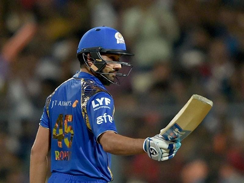 Mumbai Indians batsman Rohit Sharma acknowledges cheers from the crowd after completing his half-century during the IPL match against Kolkata Knight Riders in Kolkata's Eden Gardens on April 13, 2016. (PTI)