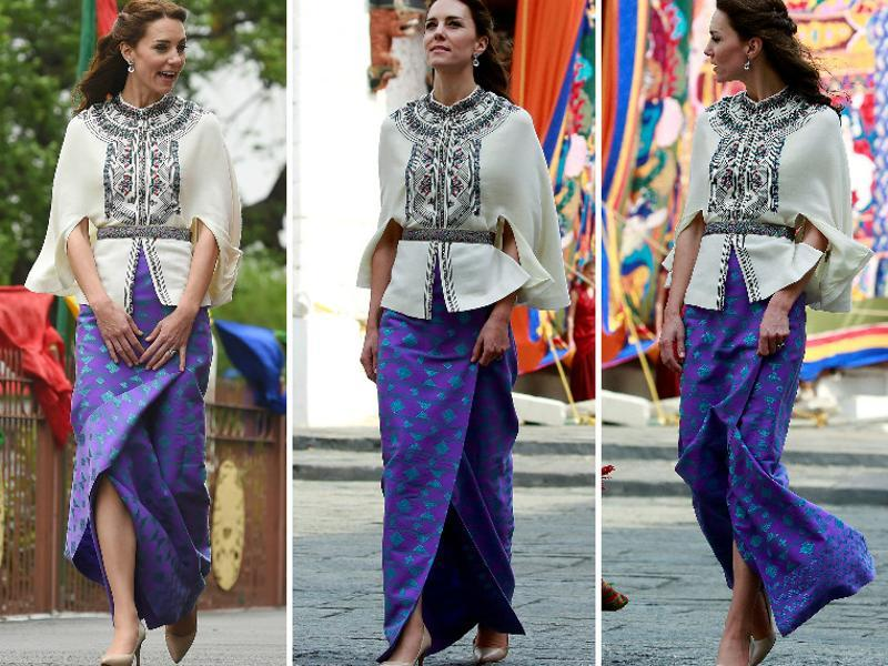 Kate wore a traditional Bhutanese purple kira, topped by a Paul and Joe cape made of wool at the Tashichho Dzong in Thimphu, Bhutan. (Agencies)