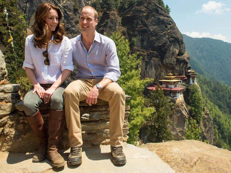 She decided to be practical with a white shirt, olive coloured pants and brown boots for the royal couple's trek to Bhutan's Tiger's Nest Monastery. (AP)