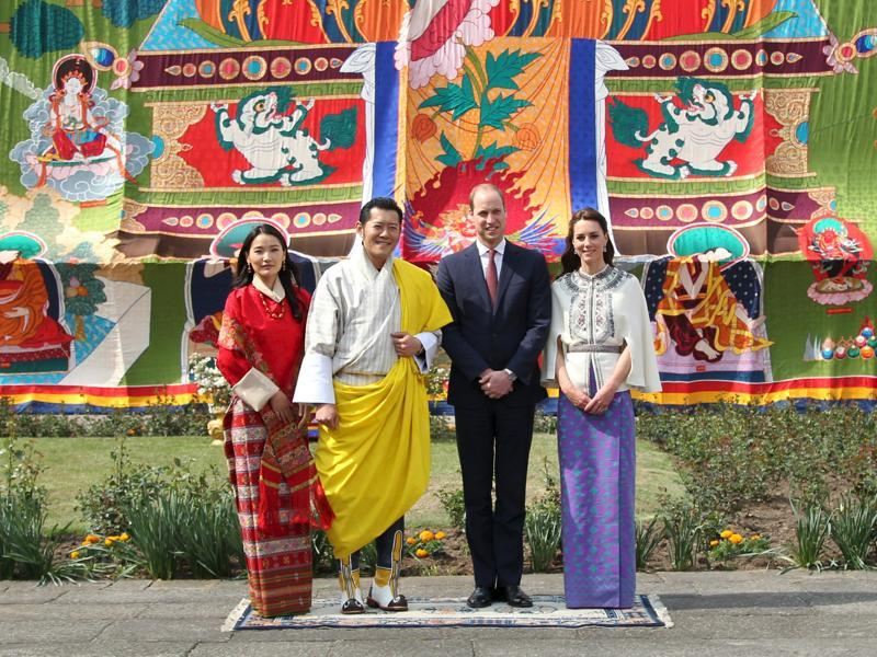 Here she is with Prince William, Bhutan's King Jigme Khesar Namgyel Wangchuck and his wife Jetsun Pema. (REUTERS)