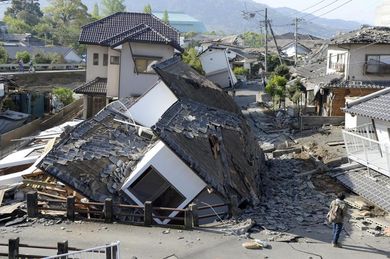Houses are seen destroyed after an earthquake in Mashiki, Kumamoto prefecture. (AP)