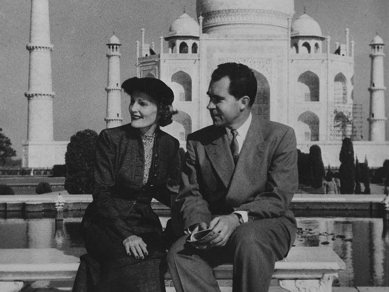 Former US President Richard Nixon and his wife at the Taj Mahal. (HT ARCHIVES)