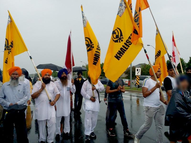 A pro-Khalistan rally in the Greater Toronto Area. (HT Photo)