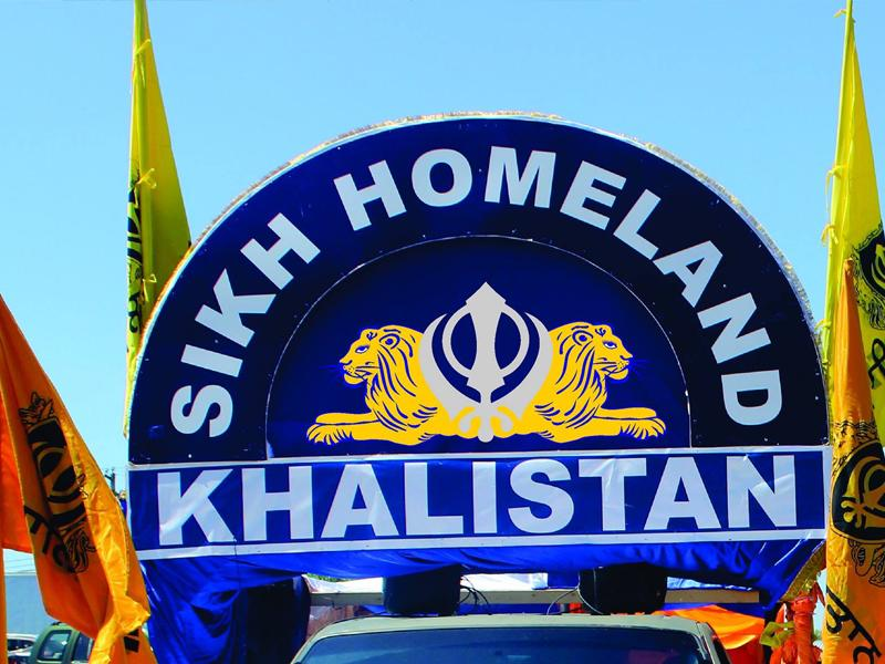A float espousing Khalistan at an event in the Greater Toronto Area. (HT Photo)