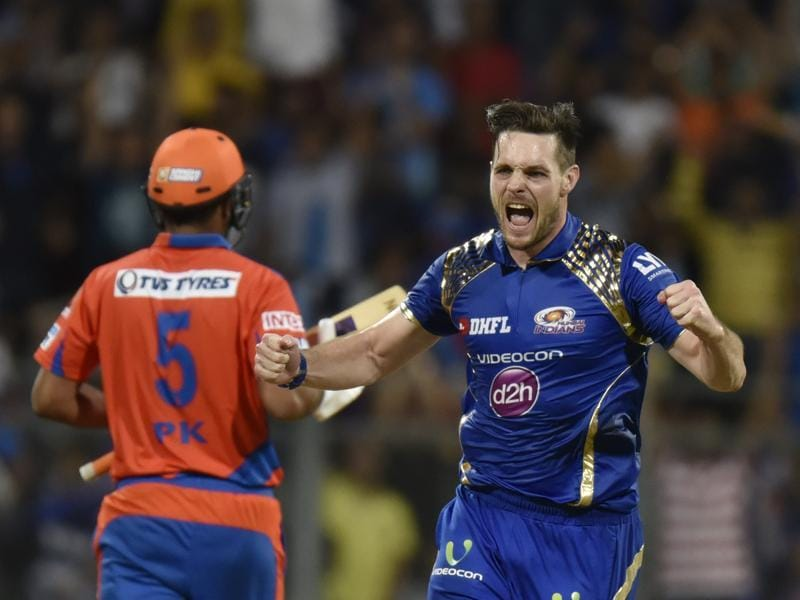 Mitchell McClenaghan celebrates the wicket of Suresh Raina. (Satish Bate/HT Photo)