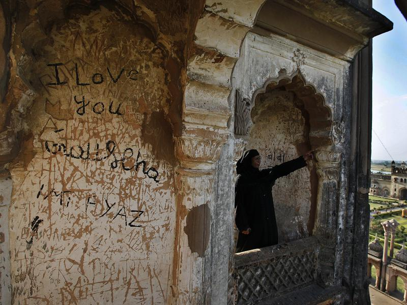 'But why use these invaluable walls to express the love?' A question one must ask on World Heritage day. Here's another scribbled wall  of the  Rumi Darwaza in Lucknow. (Raj K Raj/HT Photos )