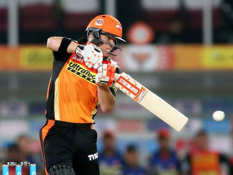Sunrisers Hyderabad captain David Warner plays a shot against Mumbai Indians. (PTI Photo)