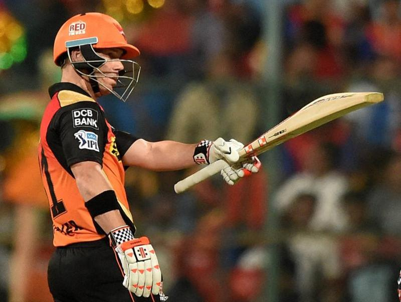 Sunrisers Hyderabad batsman David Warner celebrates his fifty . (PTI Photo)