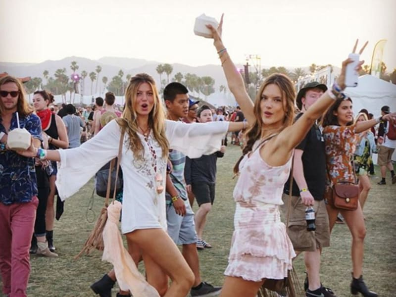Victoria's Secret supermodel Alessandra Ambrosio has a typically fun time on the Coachella grounds. (Instagram)