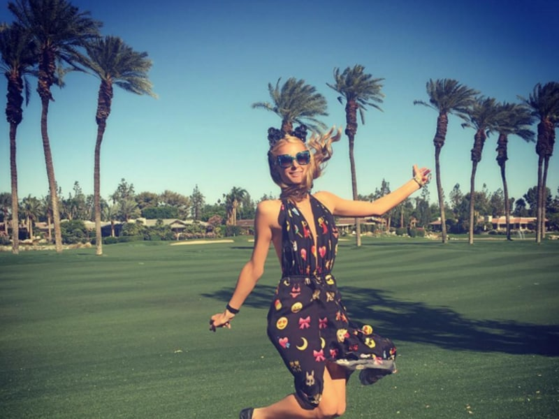 Paris Hilton takes a leap of joy at the 2016 Coachella festival. (Instagram)