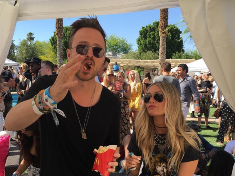 Aaron Paul of Breaking Bad fame enjoys a McDonald's breakfast at the Coachella Valley Music and Arts Festival 2016. (Instagram)