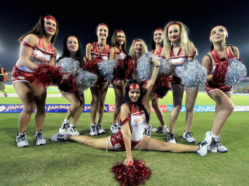 Kings XI Punjab cheerleaders pose for picture during the Indian Premier League (IPL) match. (PTI Photo)