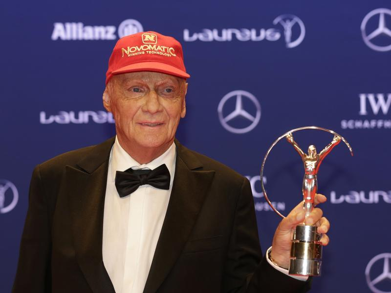 Former Formula One driver Niki Lauda won the Laureus Lifetime Achievement Award. (AP)