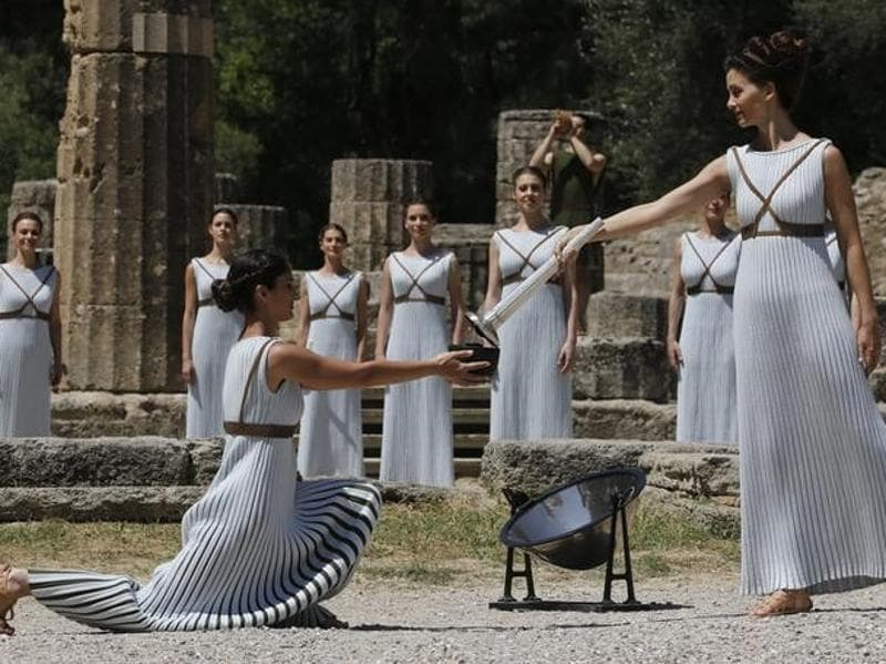 Priestesses including Greek actress Katerina Lehou (R) attend the Olympic flame lighting ceremony for the Rio 2016 Olympic Games. (Reuters Photo)