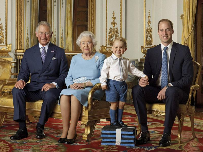 A photo celebrating the Queen's 90th birthday, showcasing four generations of the Royal family; from left, Prince Charles, Queen Elizabeth II, Prince George and Prince William, the Duke of Cambridge.  (AP Photo)