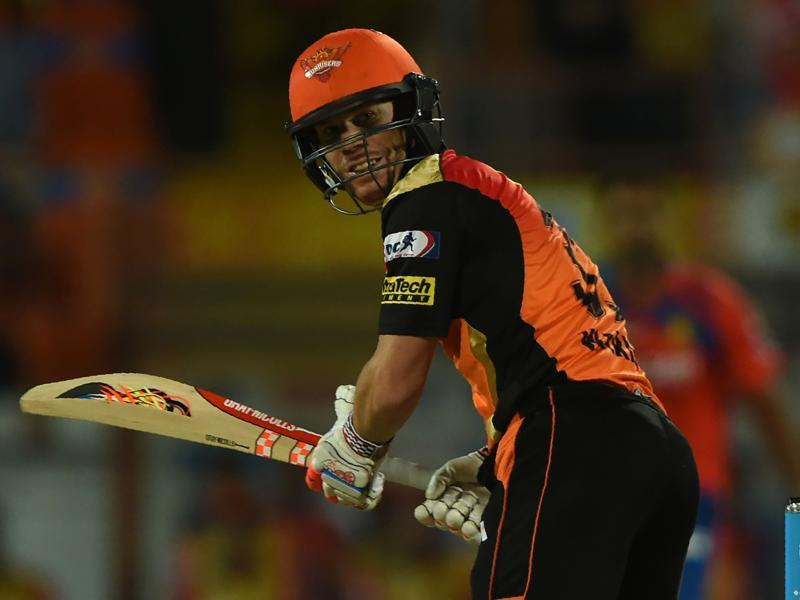 Sunrisers Hyderabad captain David Warner looks back after playing a shot. (AFP Photo)