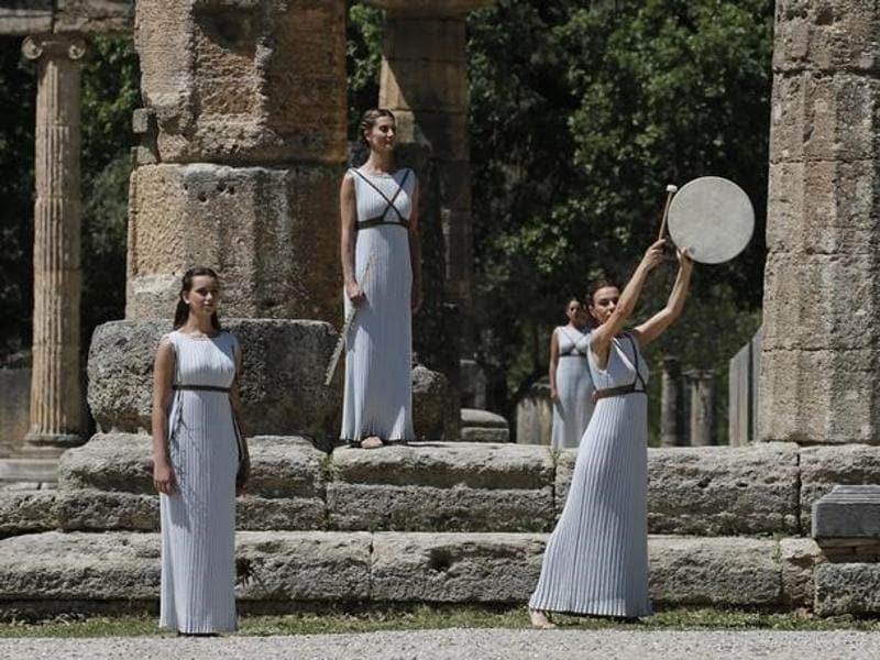Priestesses attend the Olympic flame lighting ceremony for the Rio 2016 Olympic Games inside the ancient Olympic Stadium on the site of ancient Olympia, Greece. (Reuters Photo)