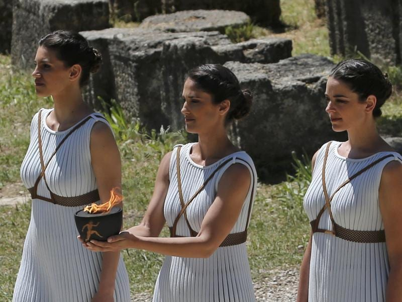 Priestesses attend the Olympic flame lighting ceremony for the Rio 2016 Olympic Games. (REUTERS Photo)