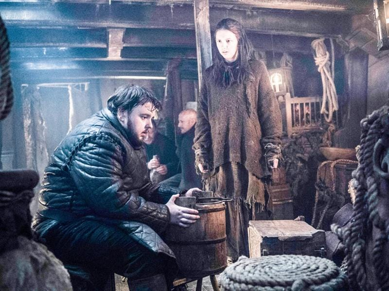 Samwell Tarly (John Bradley-West) and Gilly (Hannah Murray). What will his reaction be when he finds out that the Night's Watch killed Jon Snow. (HBO)