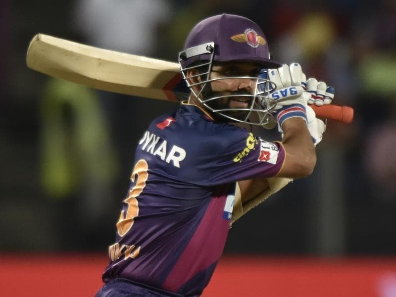 Ajinkya Rahane of Rising Pune Supergaints in action against Royal Changellers Bangalore during an Indian Premier League (IPL). (Anshuman Poyrekar/HT Photo)