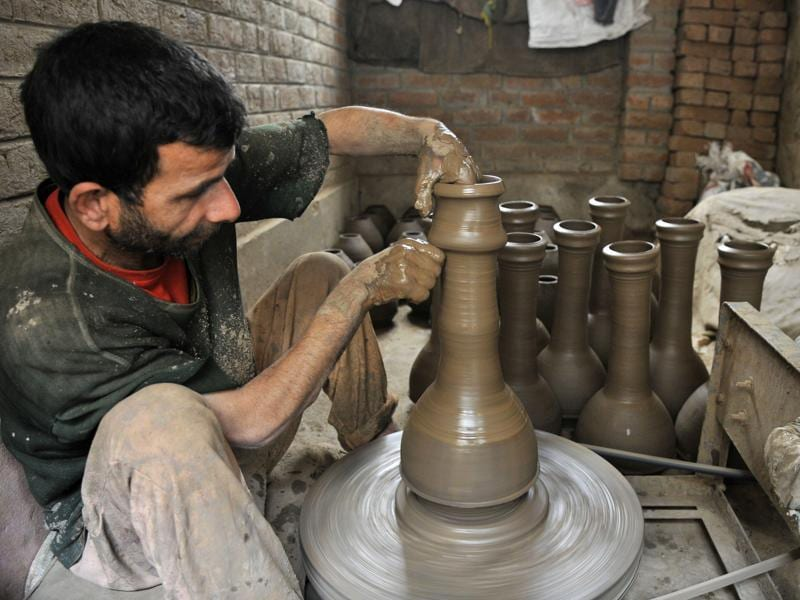 The instrument is still  made of baked clay maintaining its originality.    (Waseem Andrabi/HT)