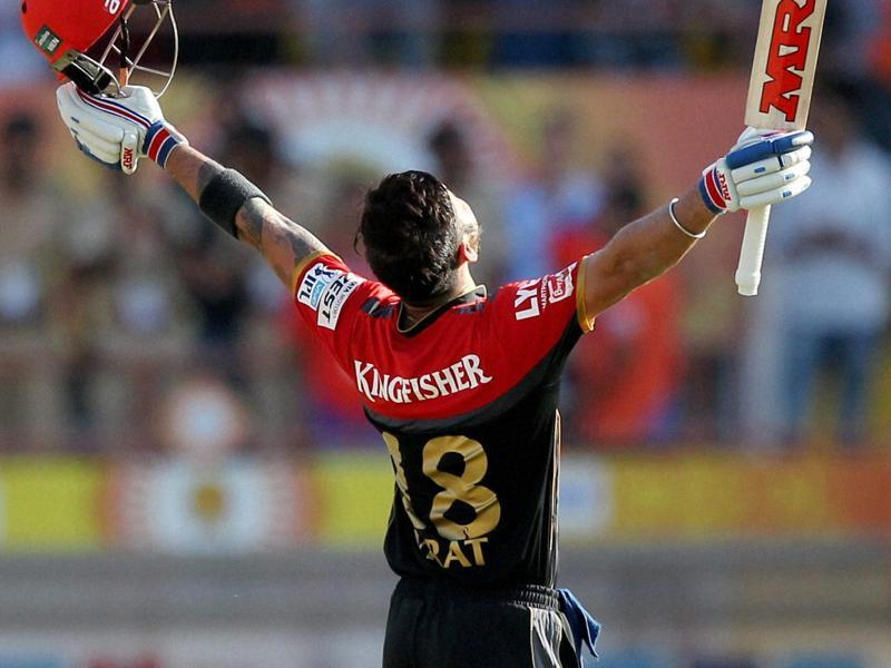 Royal Challengers Bangalore captain Virat Kohli celebrates his century. (PTI Photo)