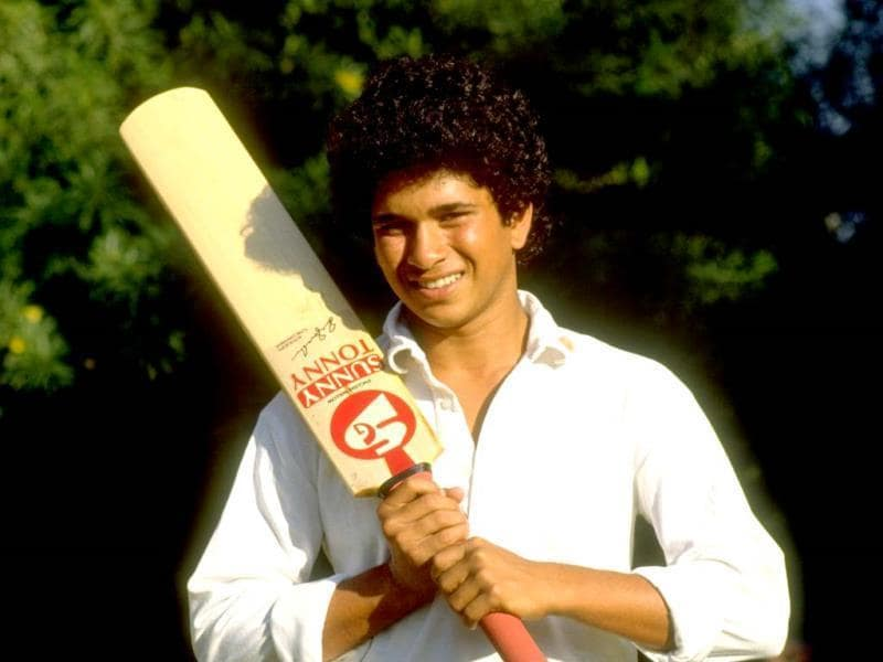 A young Sachin poses just before a Test series against Pakistan in India in 1989. (Getty Images)