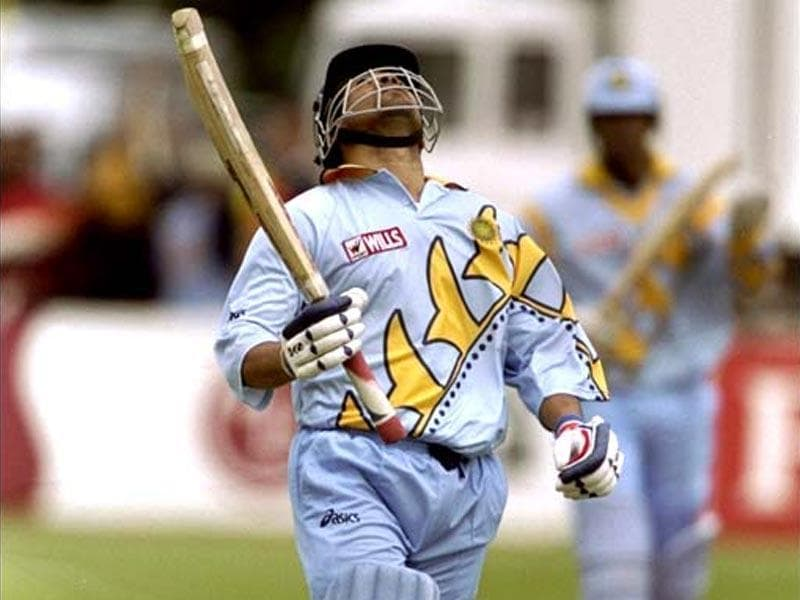 Sachin reacts after getting his century against Kenya in the 1999 World Cup. India won by 94 runs. (Getty Images)