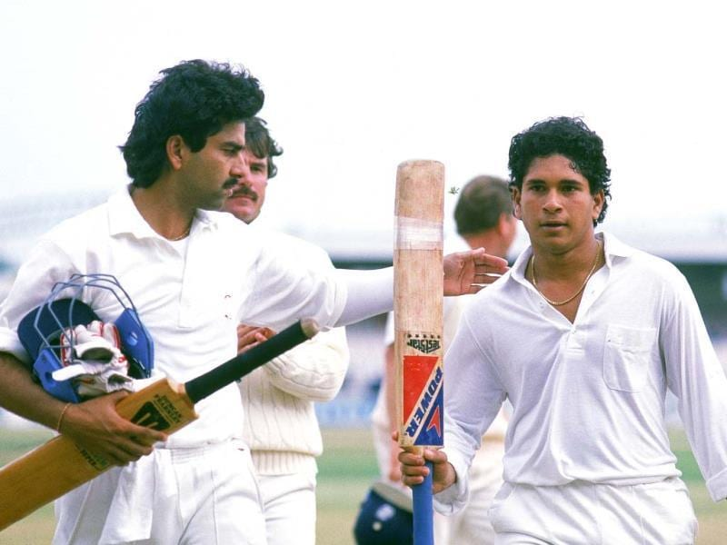 Sachin's unbeaten 119 against England at Old Trafford was not only his first ton, his determined batting also saved the Test for India. (Getty Images)