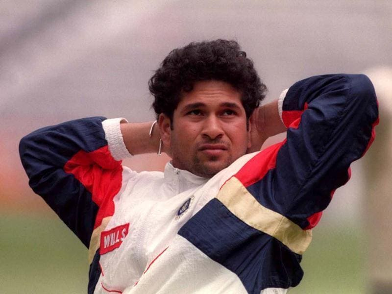 Tendulkar relaxes after a session at the nets in the Fosters Oval ahead of a one day international match. Adrian Murrell/Allsport. Getty Images.