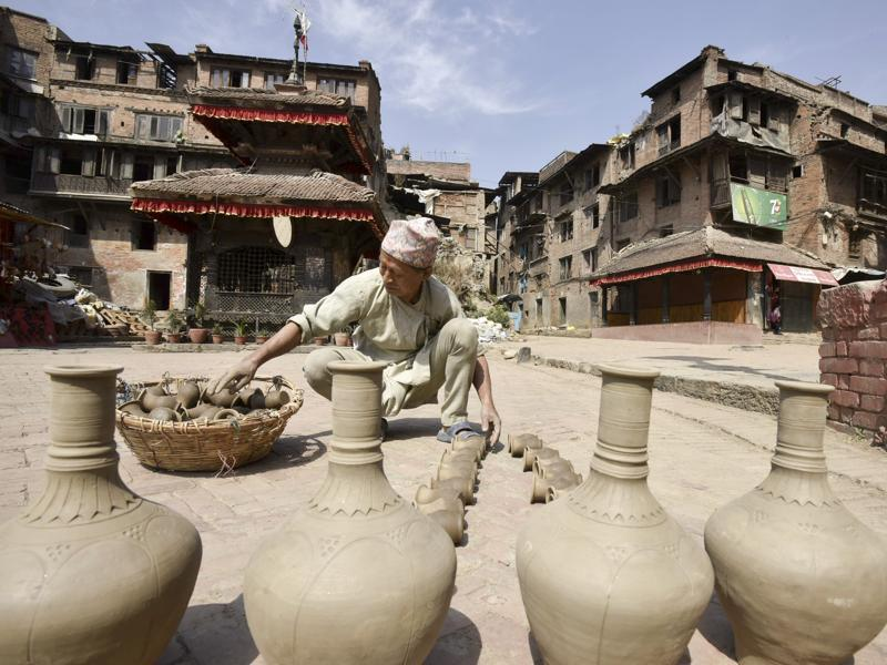 A potter works under the open sky in Bhaktapur, Nepal. (Raj K Raj/Hindustan Times)