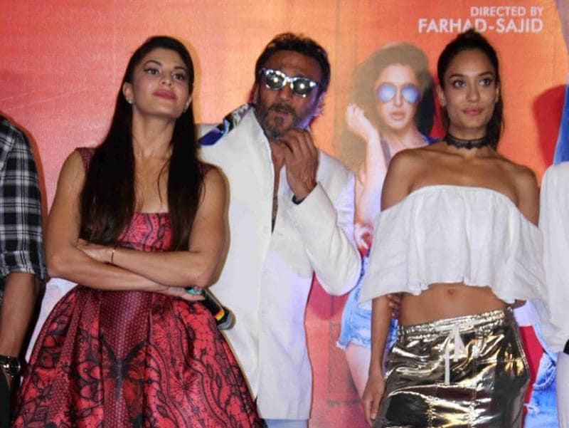 Actors Jacqueline Fernandez, Jackie Shroff and Lisa Haydon during the trailer launch of film Housefull 3.  (IANS)