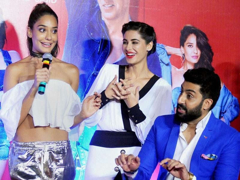 Lisa Haydon, Nargis Fakhri and Abhishek Bachchan during the trailer launch of Housefull 3.  (PTI)