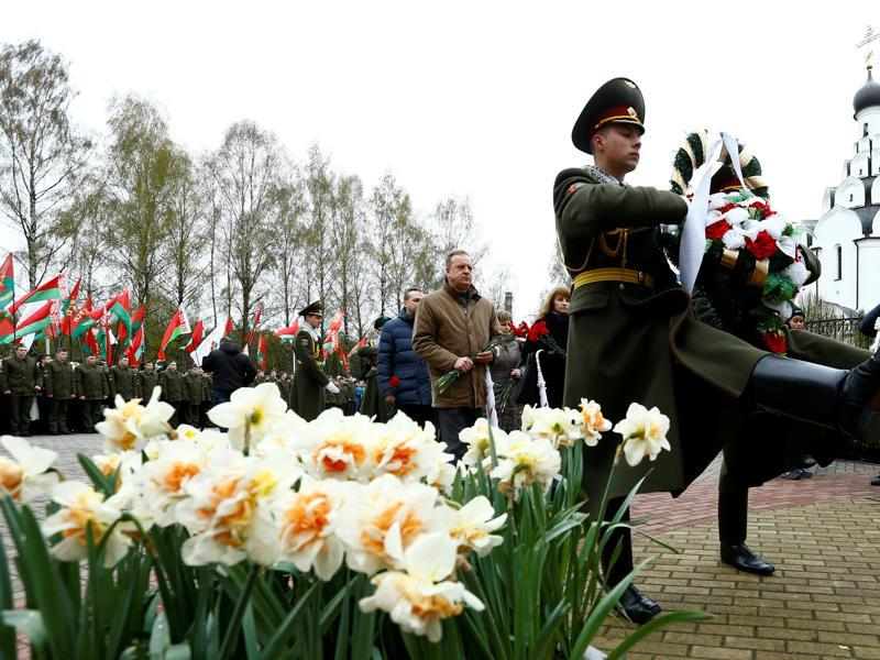 Guards of Honour march with a wreath during a memorial ceremony to mark the 30th anniversary of the Chernobyl disaster. The meltdown was the world's worst nuclear disaster and changed how nations viewed atomic energy. (REUTERS)