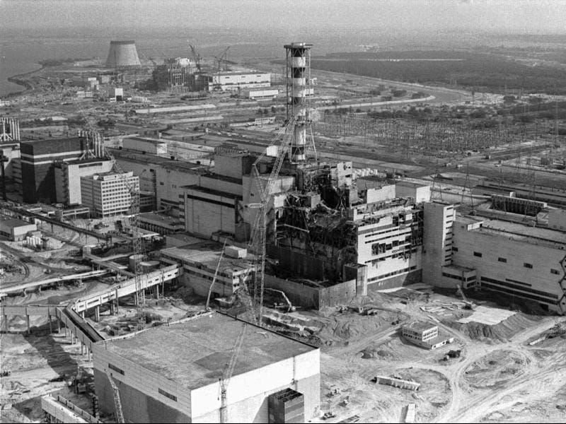 A 1986 file photo of  the Chernobyl nuclear plant in Chernobyl, Ukraine showing damage from an explosion and fire in reactor four on April 26, 1986 that sent large amounts of radioactive material into the atmosphere. (AP Photo)