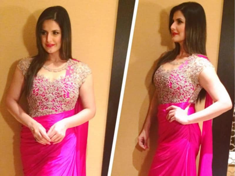 A pink saree is the dress of choice for Zareen Khan for another wedding event. (Instagram)