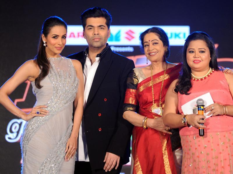 Comedian Bharti Singh joins the judges of India's Got Talent on stage. (AFP)