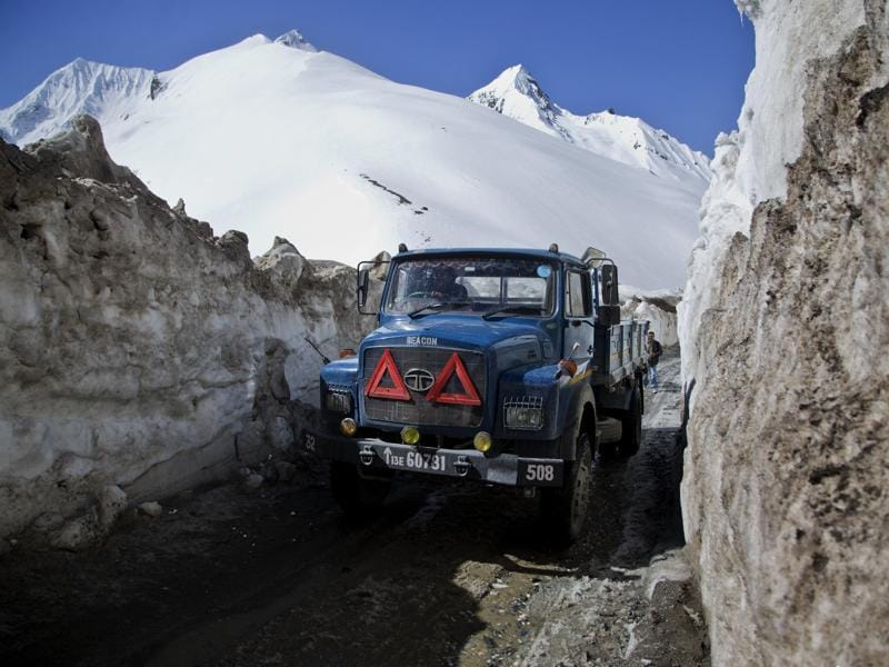 The Srinagar-Leh National Highway the only road connecting Kashmir Valley with frontier region of Ladakh, was thrown open to vehicular traffic today after remaining closed for about four months. (AP)