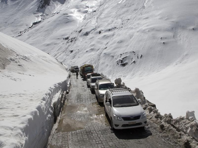 The strategic highway passes through the 11,516-feet high Zojila Pass which lies on the lower depressions of the Himalayan ranges. (AP)