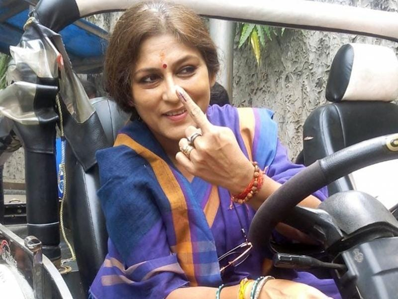 BJP's star candidate, Roopa Ganguly after casting her vote in the city on Saturday. She is contesting the assembly polls this year from Howrah North. (IANS)
