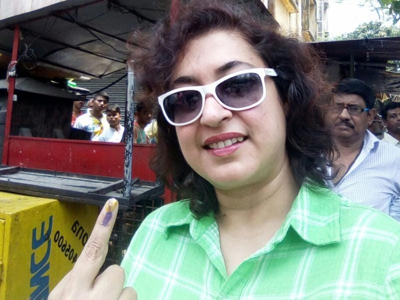 Actor-director Satabdi Roy after casting her vote in the city on Saturday. Roy became a Member Of Parliament in 2014 when she was elected from the Birbhum constituency of West Bengal on a Trinamool Congress ticket.  (IANS)